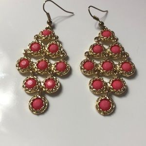 Pink and gold dangle earrings from Francescas